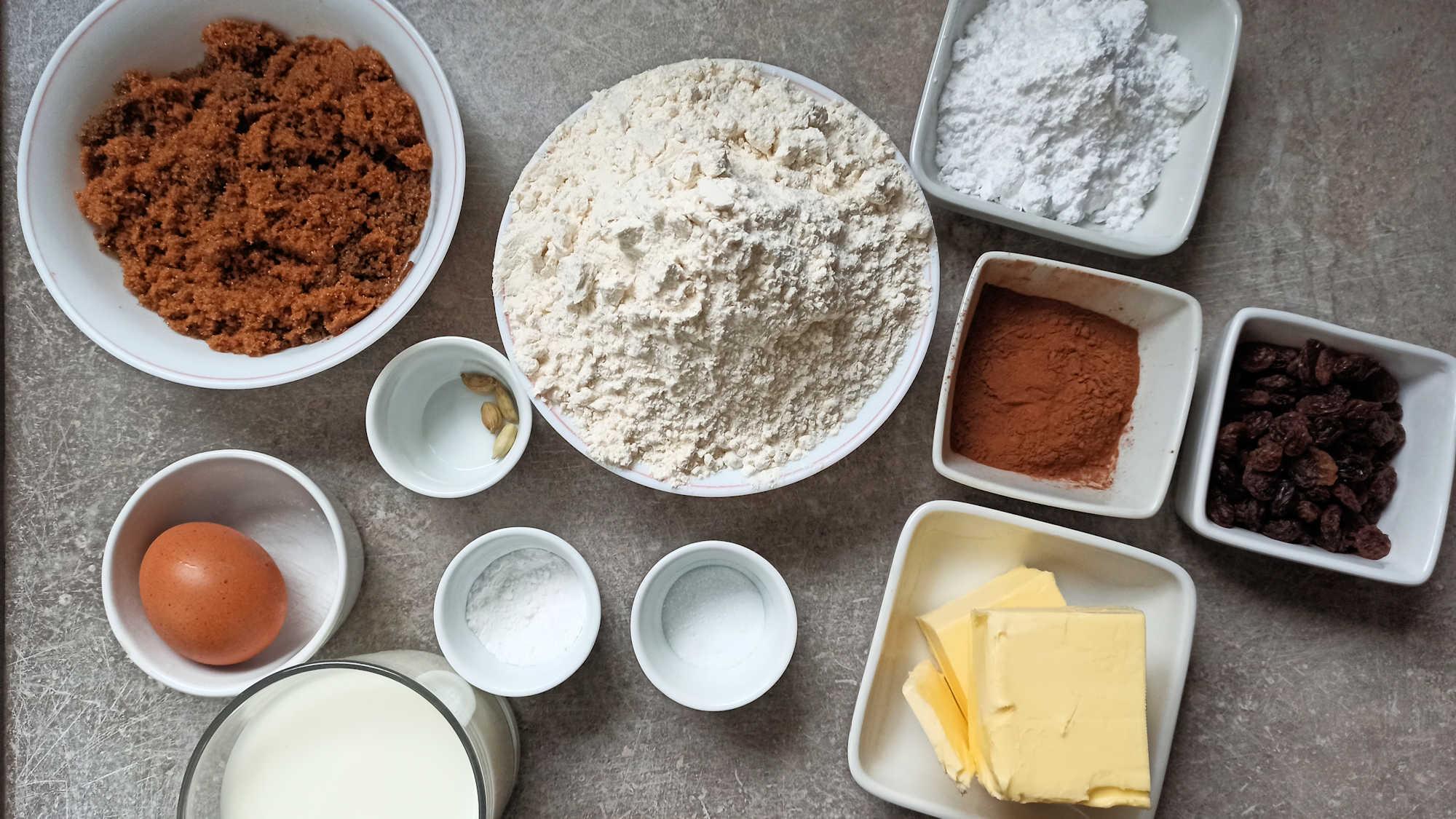 Ingrédients pour le cinnamon bun géant