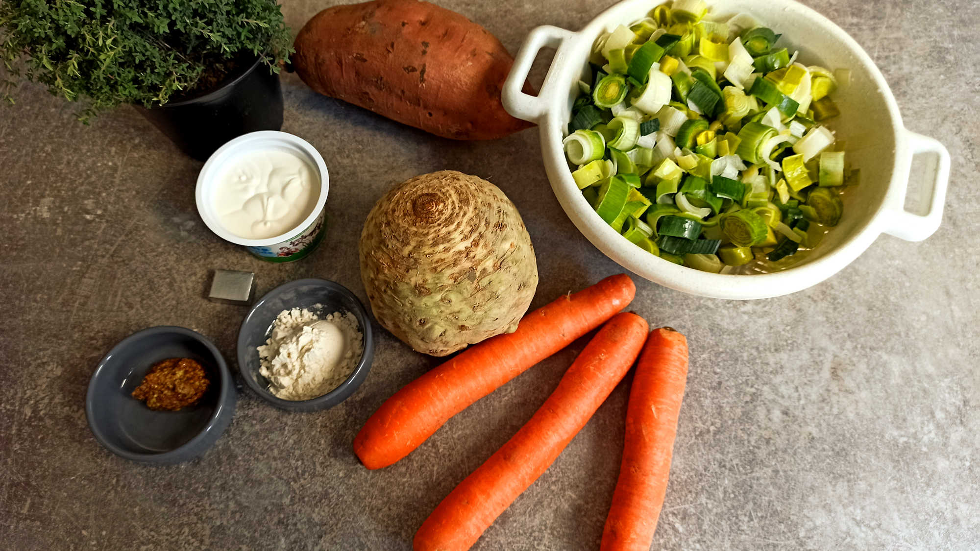 Les ingrédients du crumble aux légumes d'hiver