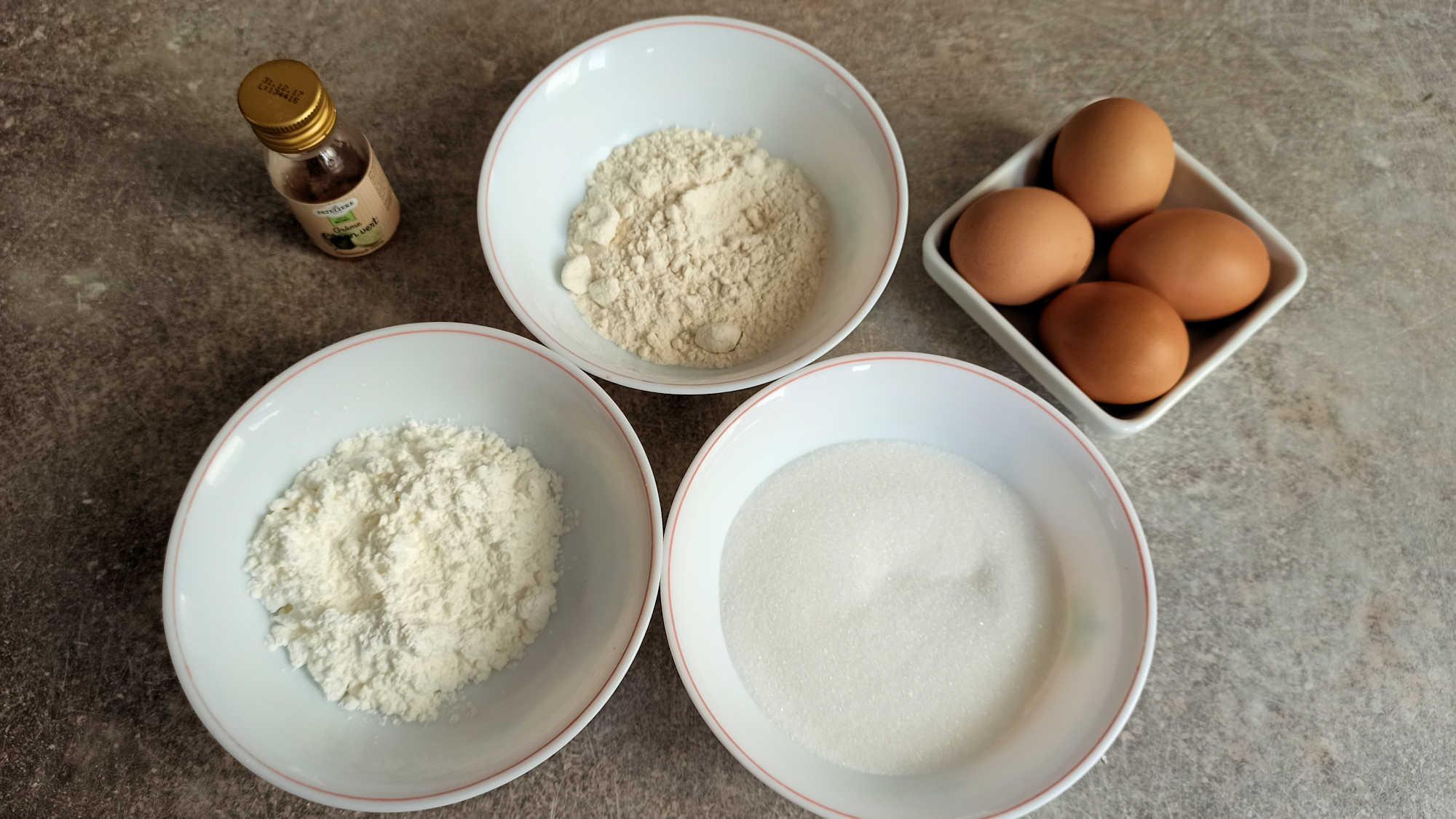 Les ingrédients du gâteau de Savoie