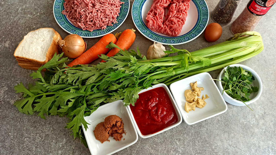 Les ingrédients pour le pain de viande de Martha Stewart