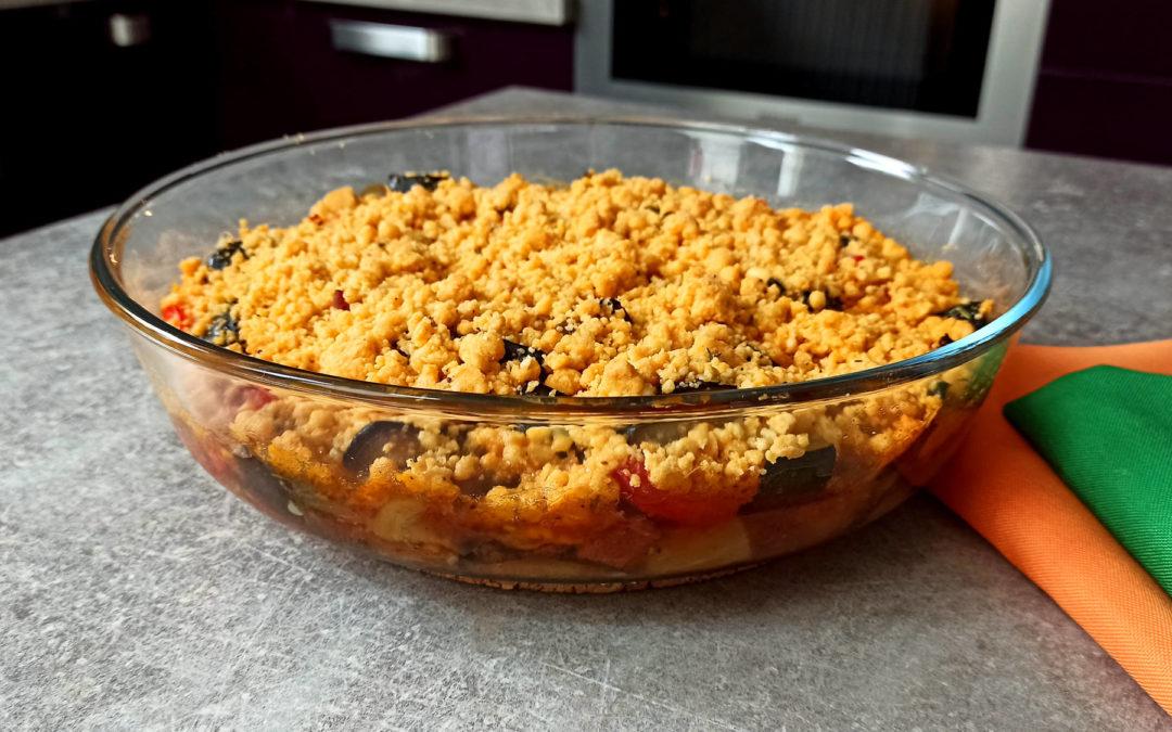 Crumble aux légumes d'été et chorizo