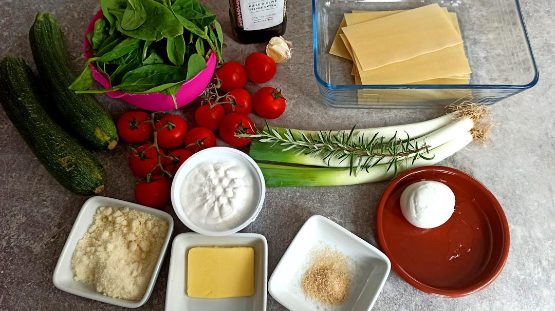 Les ingrédients des lasagnes végétariennes