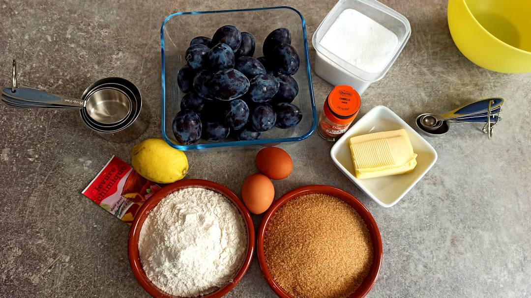 Les ingrédients de l'original plum torte